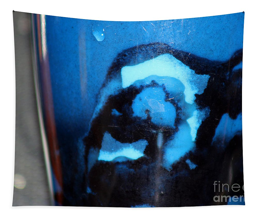 Abstract Tapestry featuring the photograph Blue Instant by Karen Adams