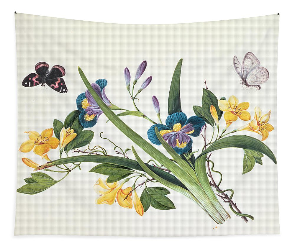 Flower Tapestry featuring the drawing Blue Iris And Insects by Chinese School