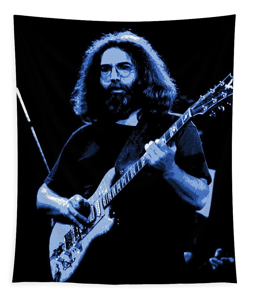 Jerry Garcia Tapestry featuring the photograph Blue J G In Cheney 10-27-78 by Ben Upham