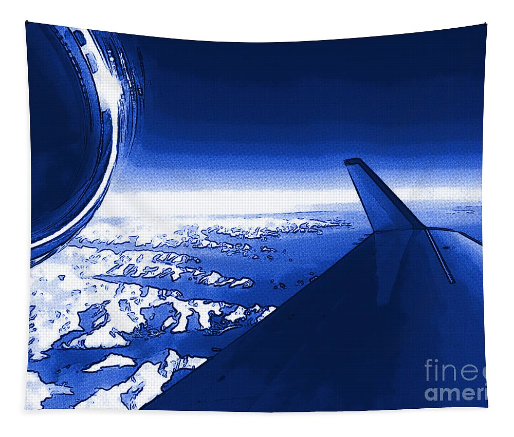 Jet Tapestry featuring the photograph Blue Jet Pop Art Plane by R Muirhead Art