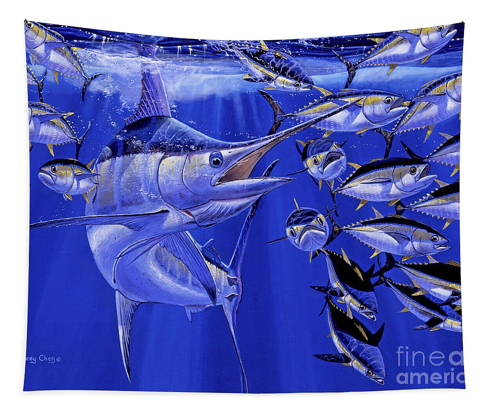 Blue Marlin Tapestry featuring the painting Blue Marlin Round Up Off0031 by Carey Chen