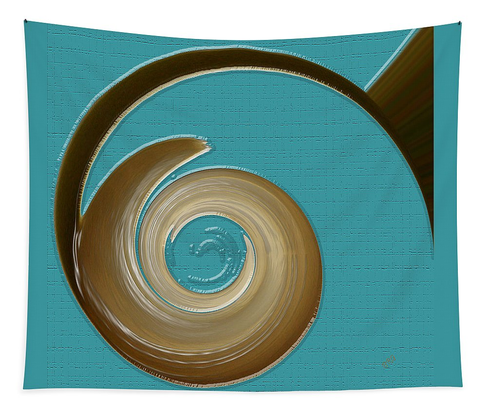 Blue Abstract Tapestry featuring the digital art Blue Motion by Ben and Raisa Gertsberg