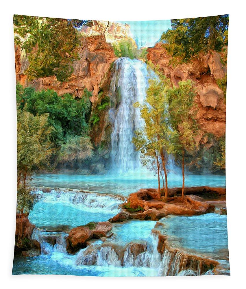 Havasu Falls Tapestry featuring the painting Blue Pool At Havasupai Falls by Dominic Piperata