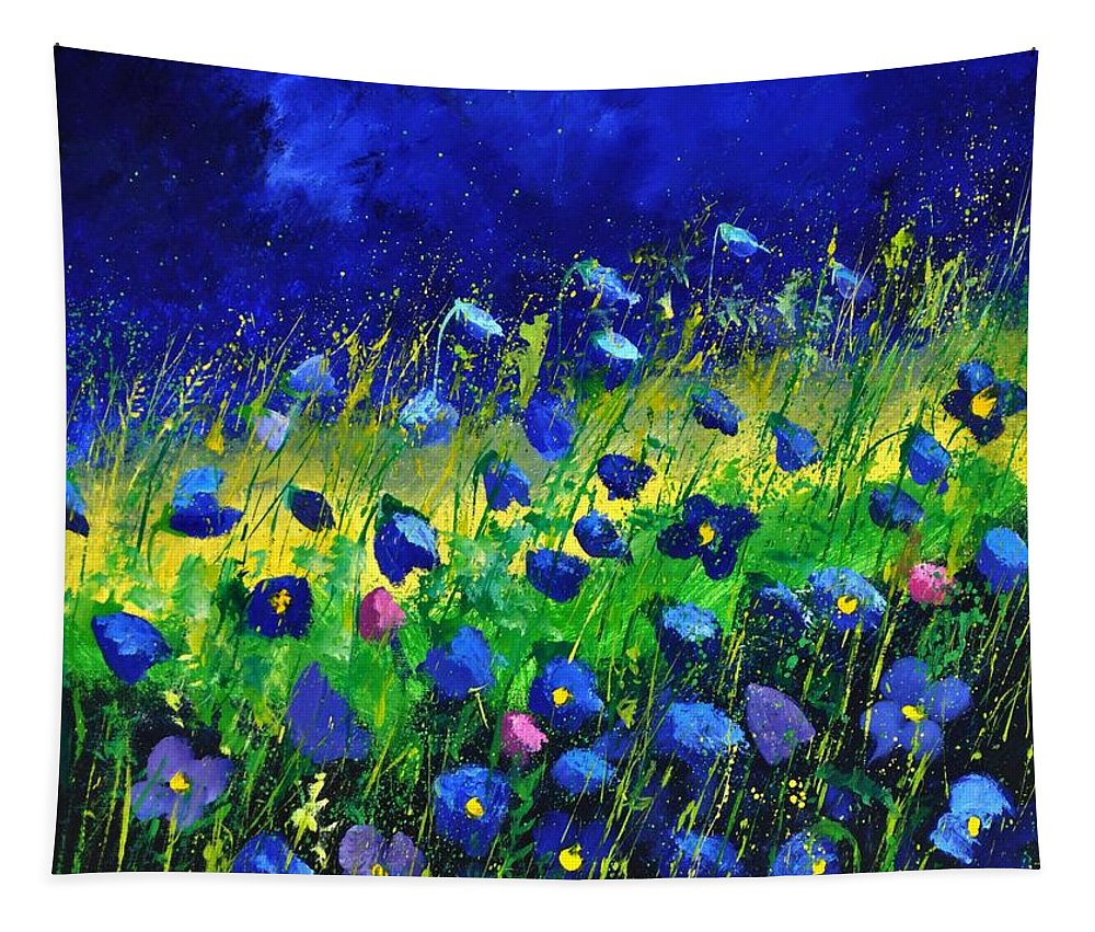 Landscape Tapestry featuring the painting Blue poppies 674190 by Pol Ledent