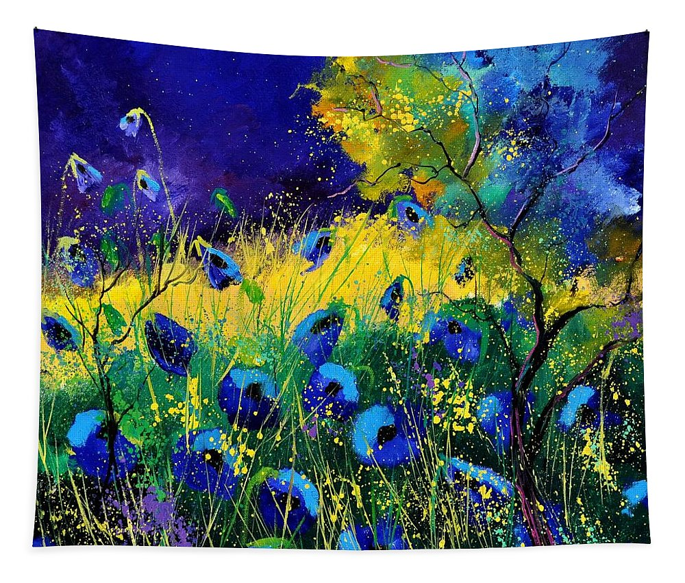 Landscape Tapestry featuring the painting Blue poppies 7741 by Pol Ledent