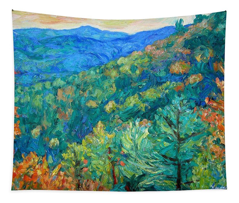 Blue Ridge Mountains Tapestry featuring the painting Blue Ridge Autumn by Kendall Kessler