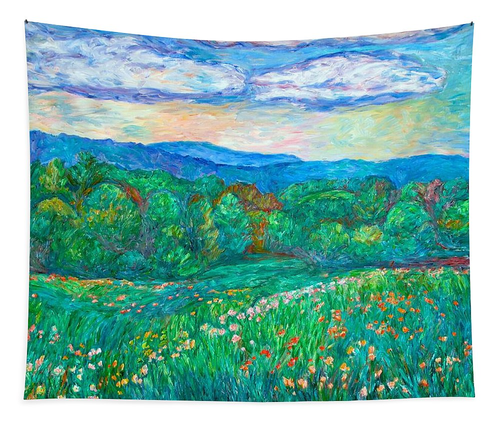 Landscapes Tapestry featuring the painting Blue Ridge Meadow by Kendall Kessler