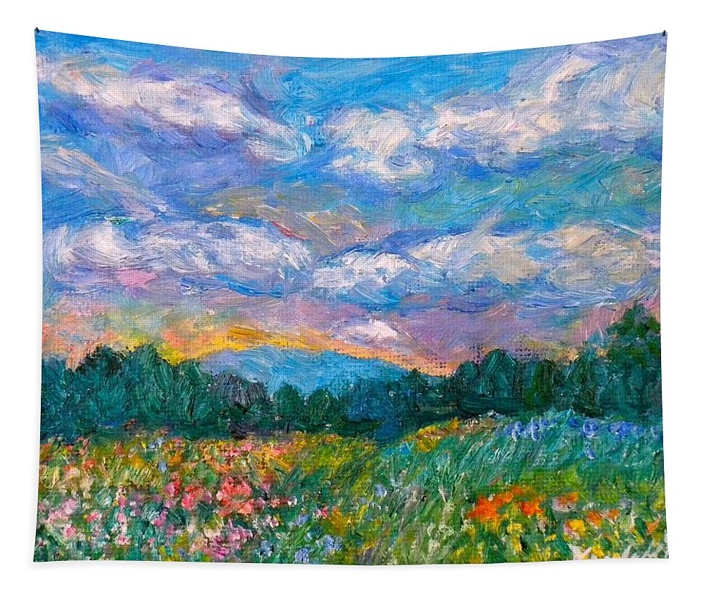 Landscape Tapestry featuring the painting Blue Ridge Wildflowers by Kendall Kessler