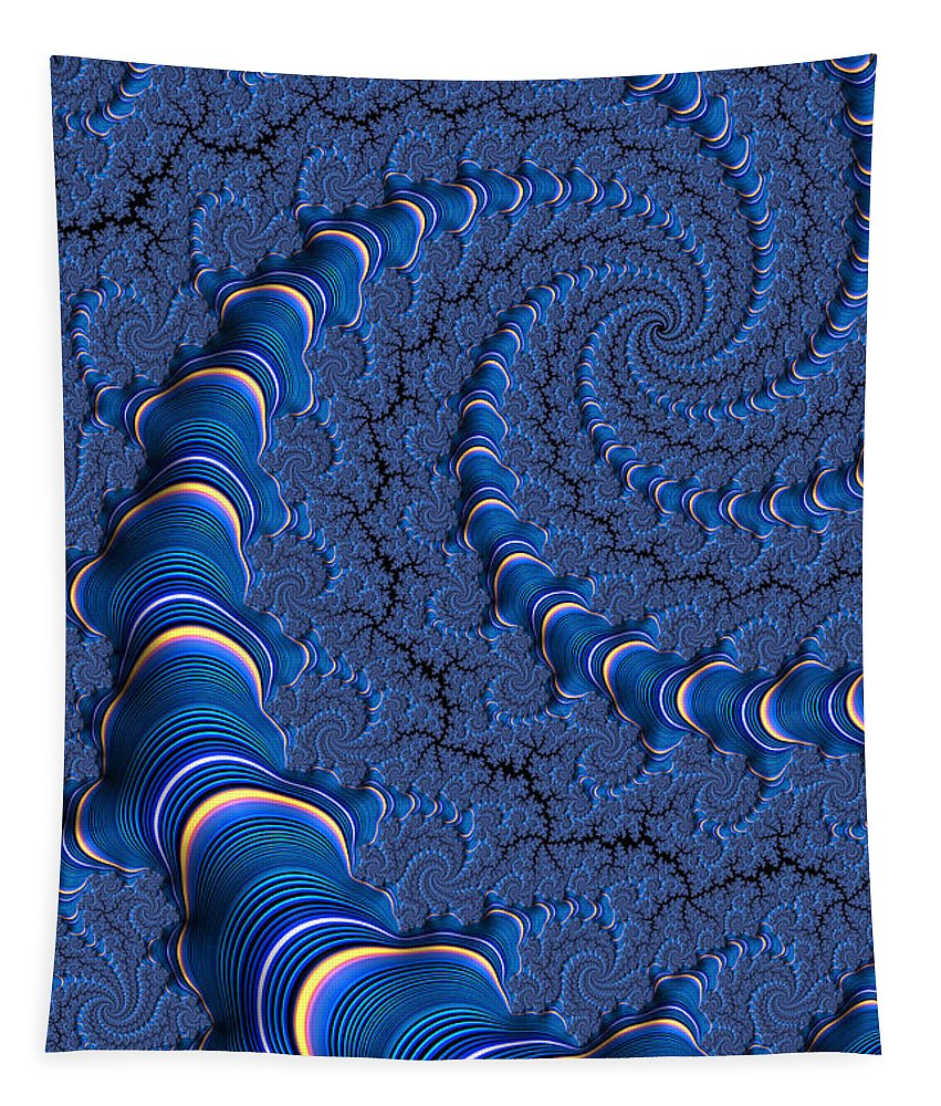 Blue Fractal Tubes Tapestry featuring the digital art Blue Tubes by John Edwards