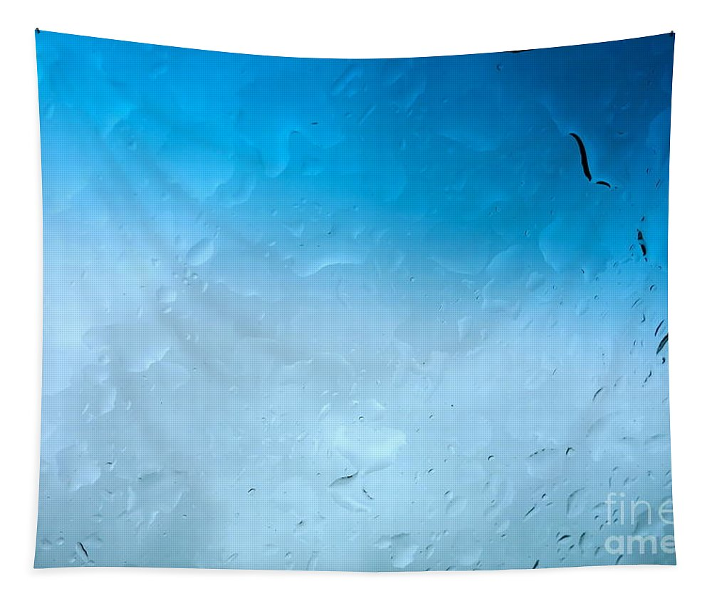 Drops Tapestry featuring the photograph Blue Water Droplets by Jacqueline Athmann