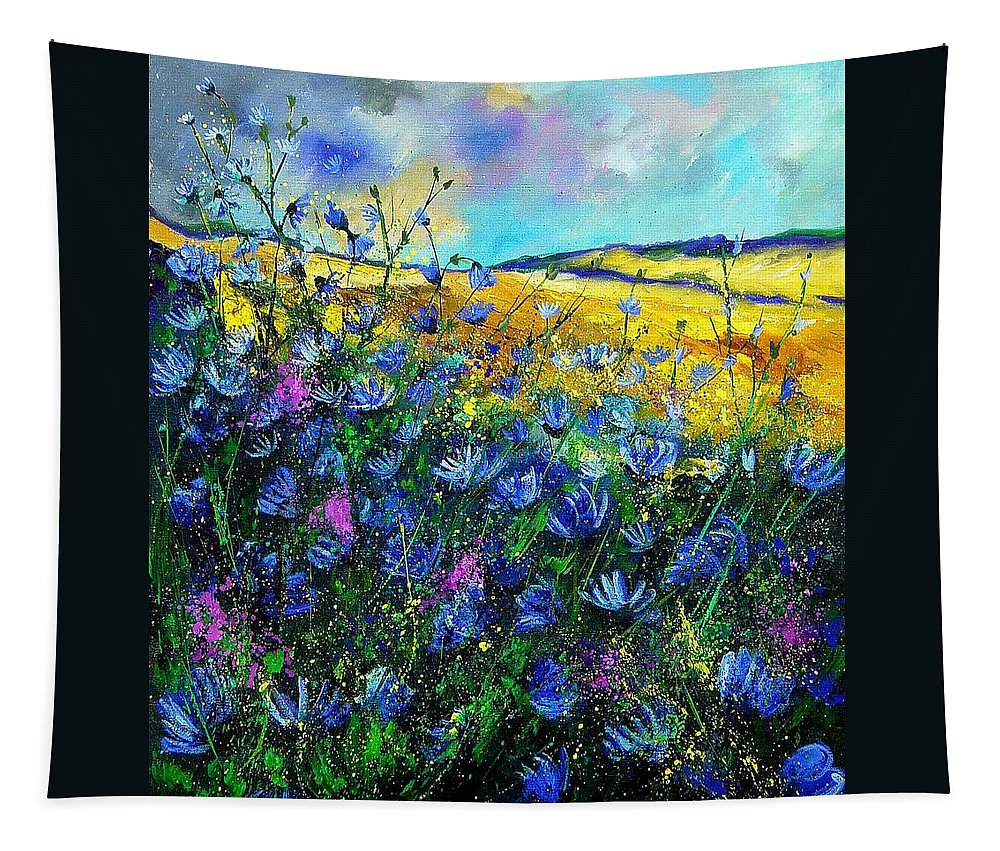 Flowers Tapestry featuring the painting Blue Wild Chicorees by Pol Ledent