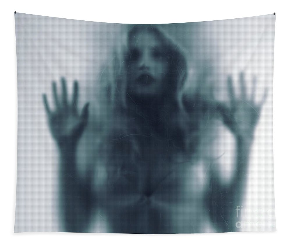 Woman Tapestry featuring the photograph Blurred Young Woman Silhouette Behind Glass by Oleksiy Maksymenko