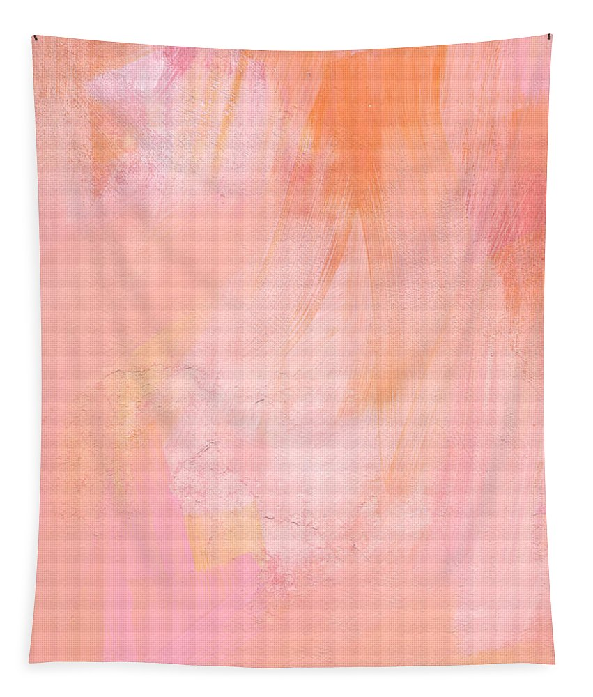 Pink Abstract Tapestry featuring the painting Blush- abstract painting in pinks by Linda Woods
