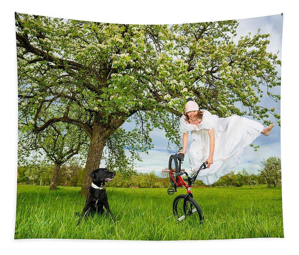 Bmx Flatland Tapestry featuring the photograph Bmx Flatland Bride Jumps In Spring Meadow by Matthias Hauser