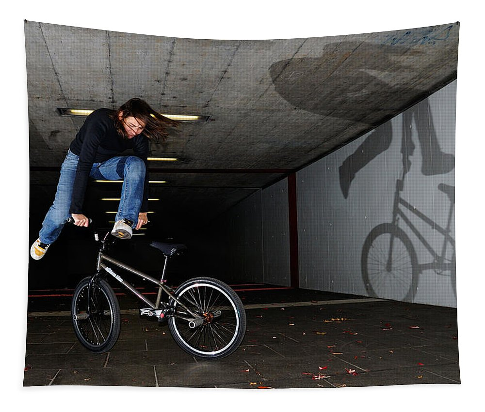 Bmx Tapestry featuring the photograph Bmx Flatland Monika Hinz Doing Awesome Trick With Her Bike by Matthias Hauser