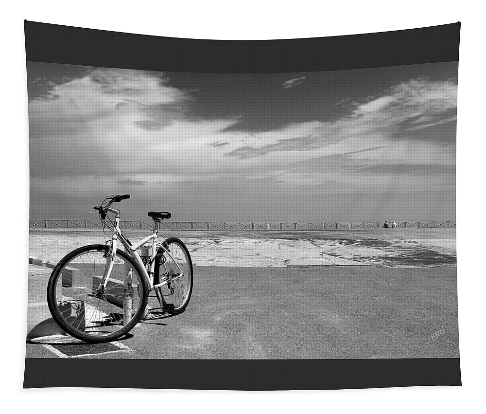 Bicycle Tapestry featuring the photograph Boardwalk View With Bike In Antibes France Black And White by Ben and Raisa Gertsberg