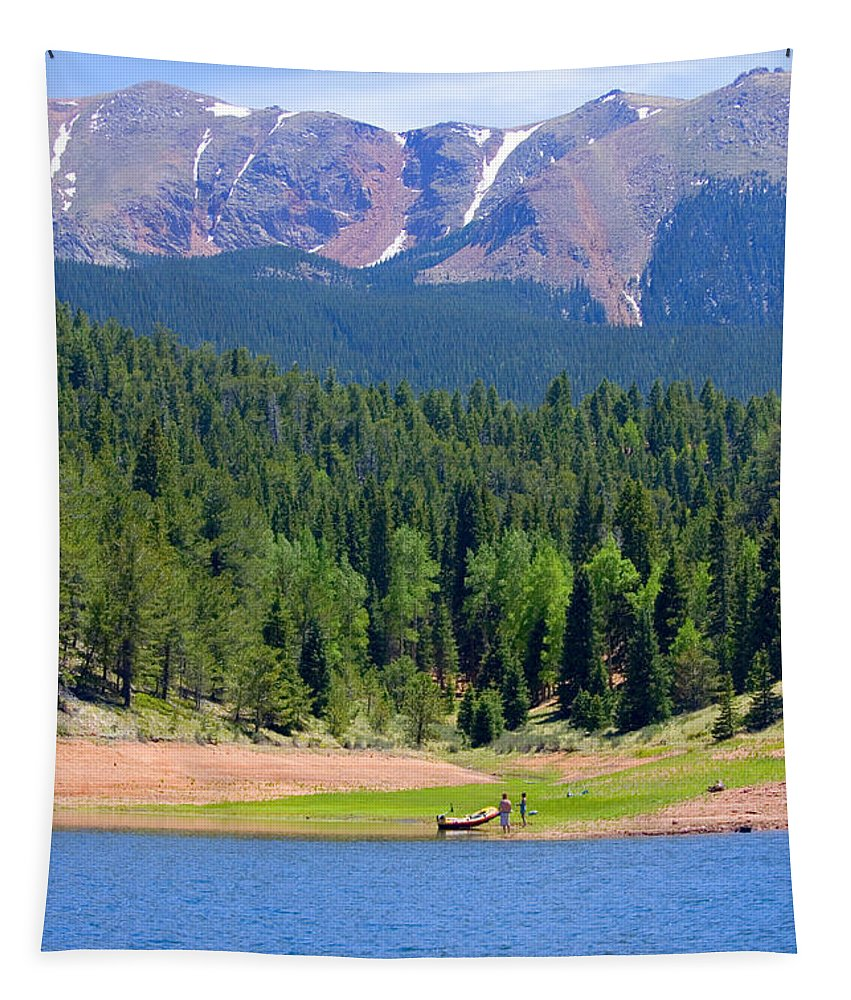 Colorado Rockies Tapestry featuring the photograph Boat Launch by Steve Krull