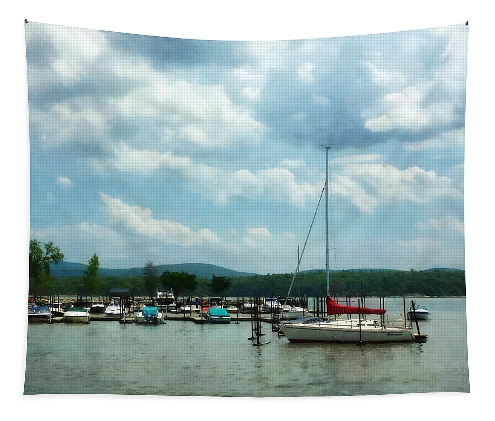 Boat Tapestry featuring the photograph Boat - Sailboat At Dock Cold Springs Ny by Susan Savad