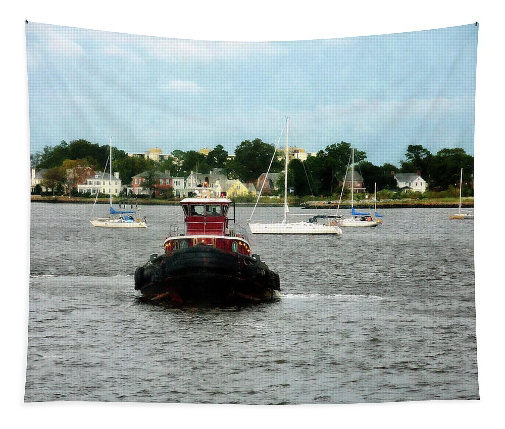 Tugboat Tapestry featuring the photograph Boat - Tugboat Bow Norfolk Va by Susan Savad