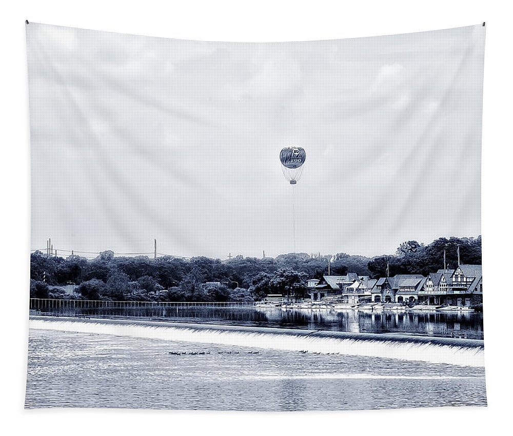 Boathouse Tapestry featuring the photograph Boathouse Row And The Zoo Balloon by Bill Cannon