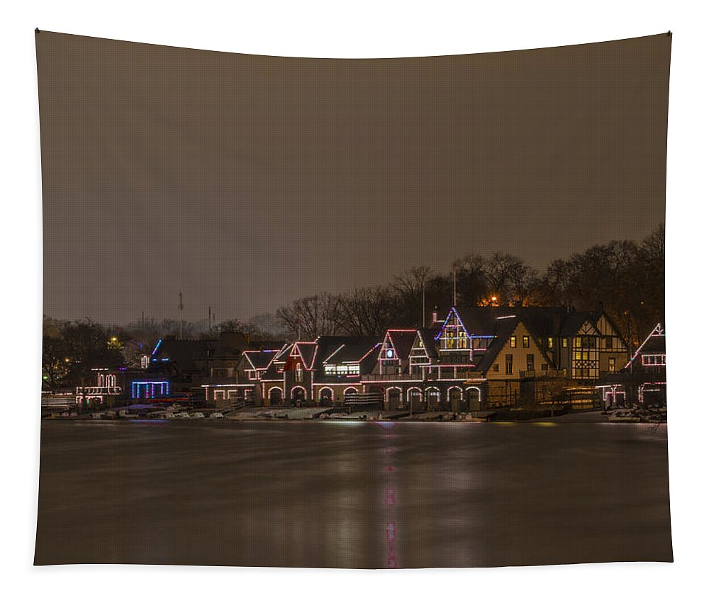Boathouse Tapestry featuring the photograph Boathouse Row In The Evening by Bill Cannon