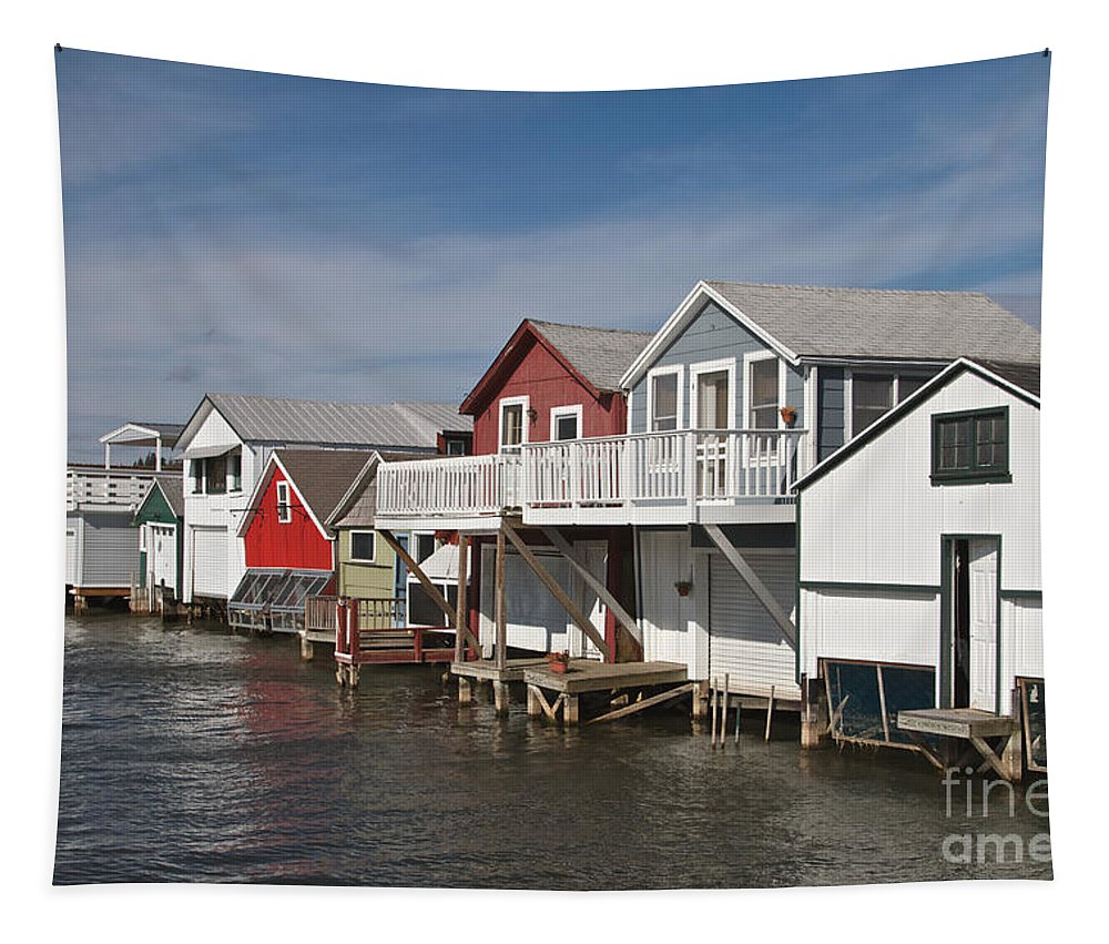 Boathouse Tapestry featuring the photograph Boathouse Row by William Norton