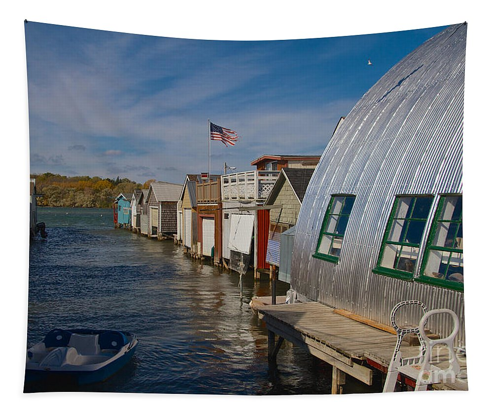 Boathouse Tapestry featuring the photograph Boathouse by William Norton