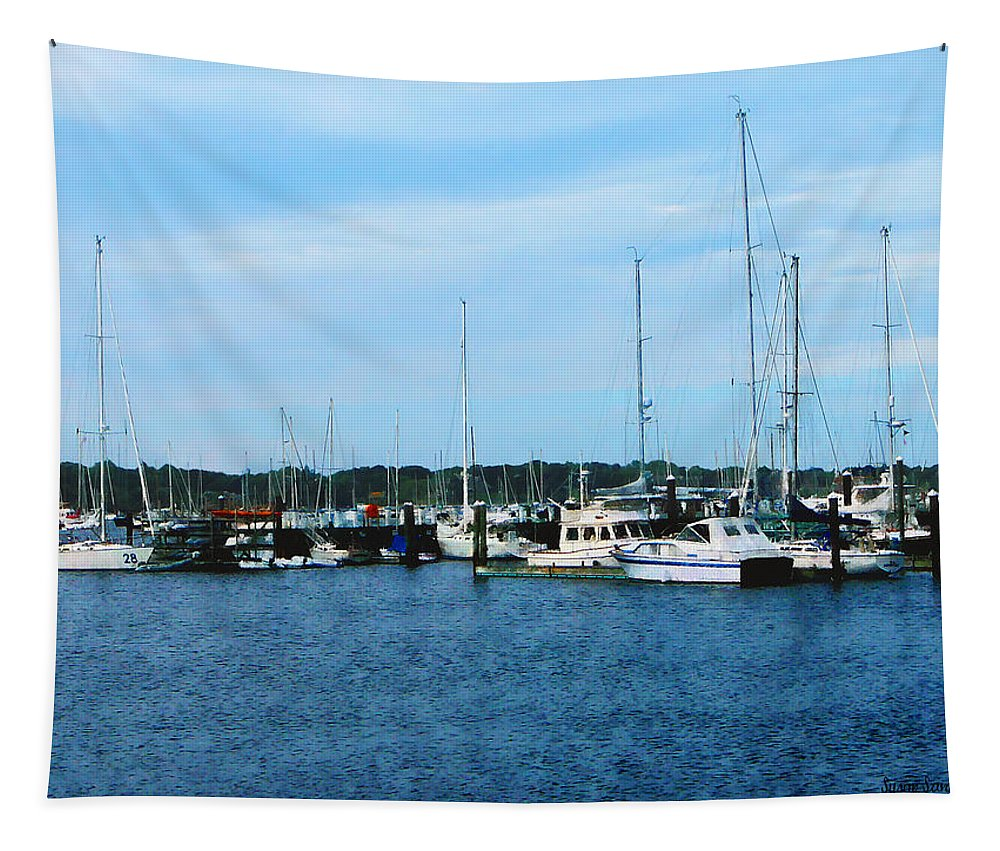 Boat Tapestry featuring the photograph Boats At Newport Ri by Susan Savad