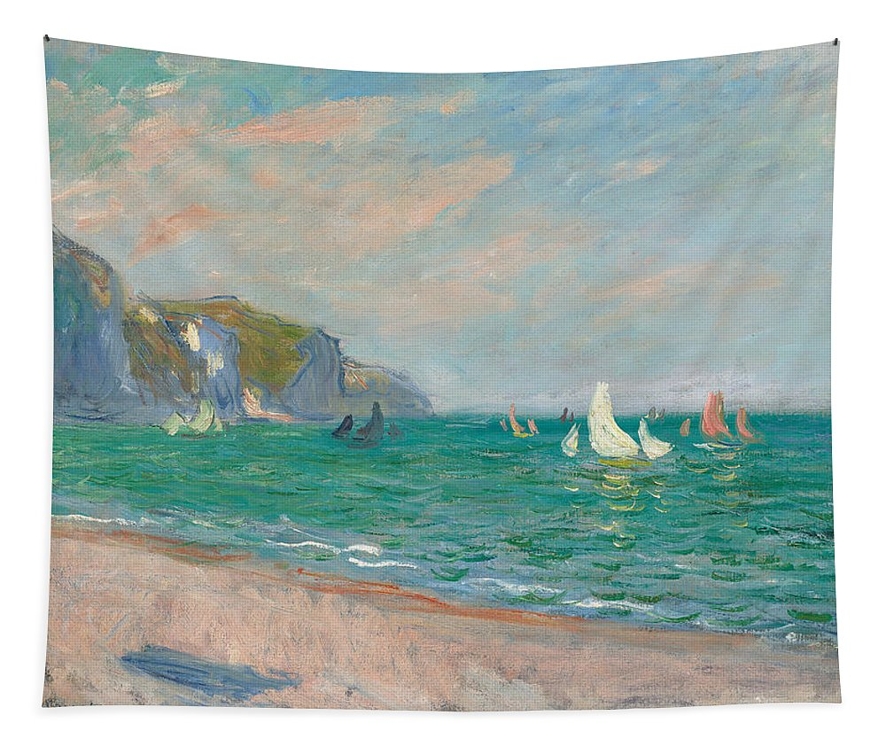 French Tapestry featuring the painting Boats Below The Pourville Cliffs by Claude Monet