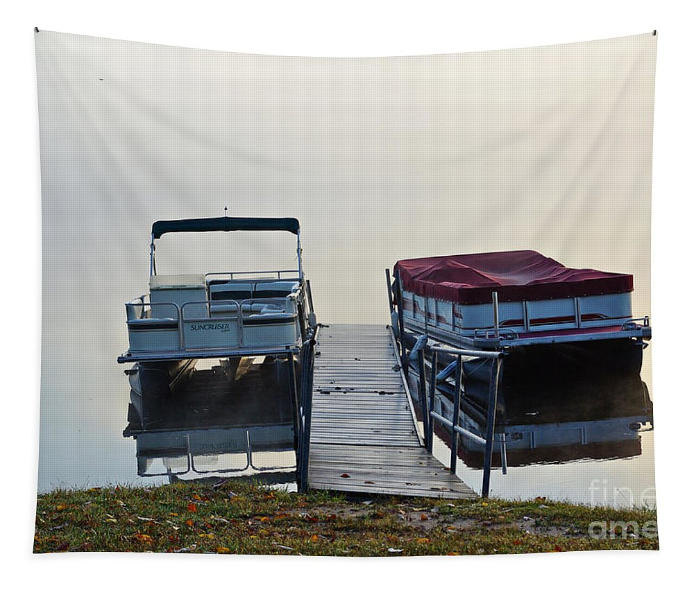 Boats Tapestry featuring the photograph Boats By The Dock by Gary Richards