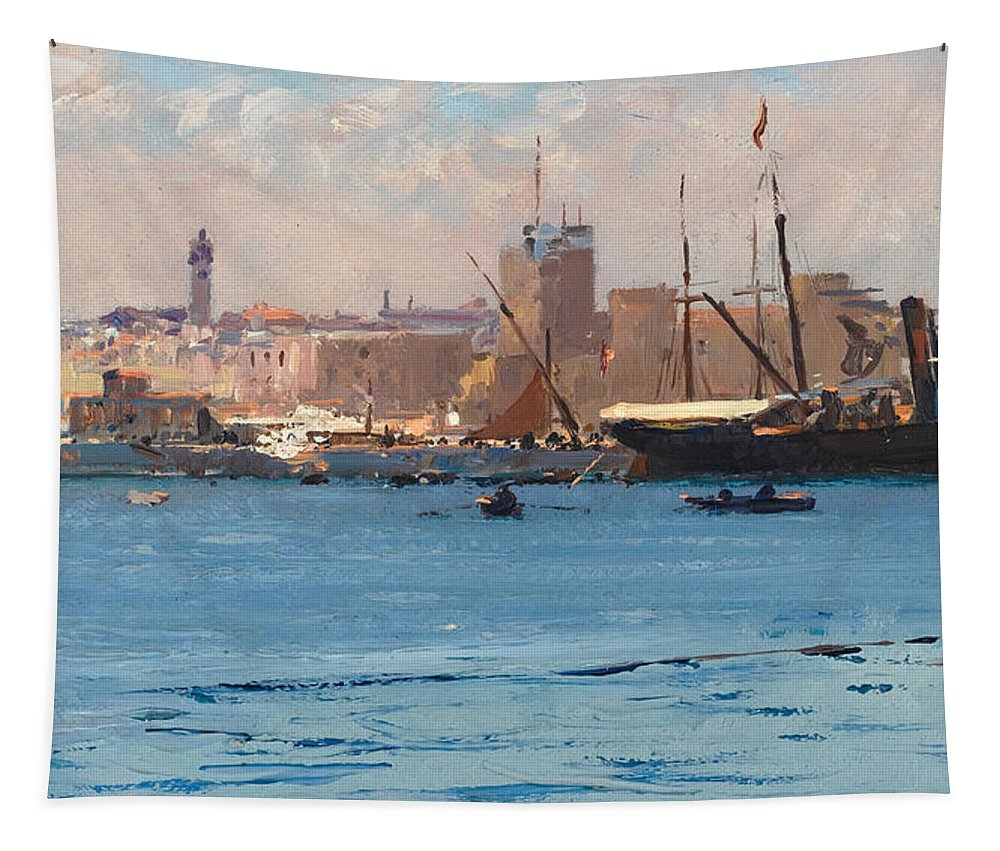 Fausto Zonaro Tapestry featuring the painting Boats In A Port by Fausto Zonaro