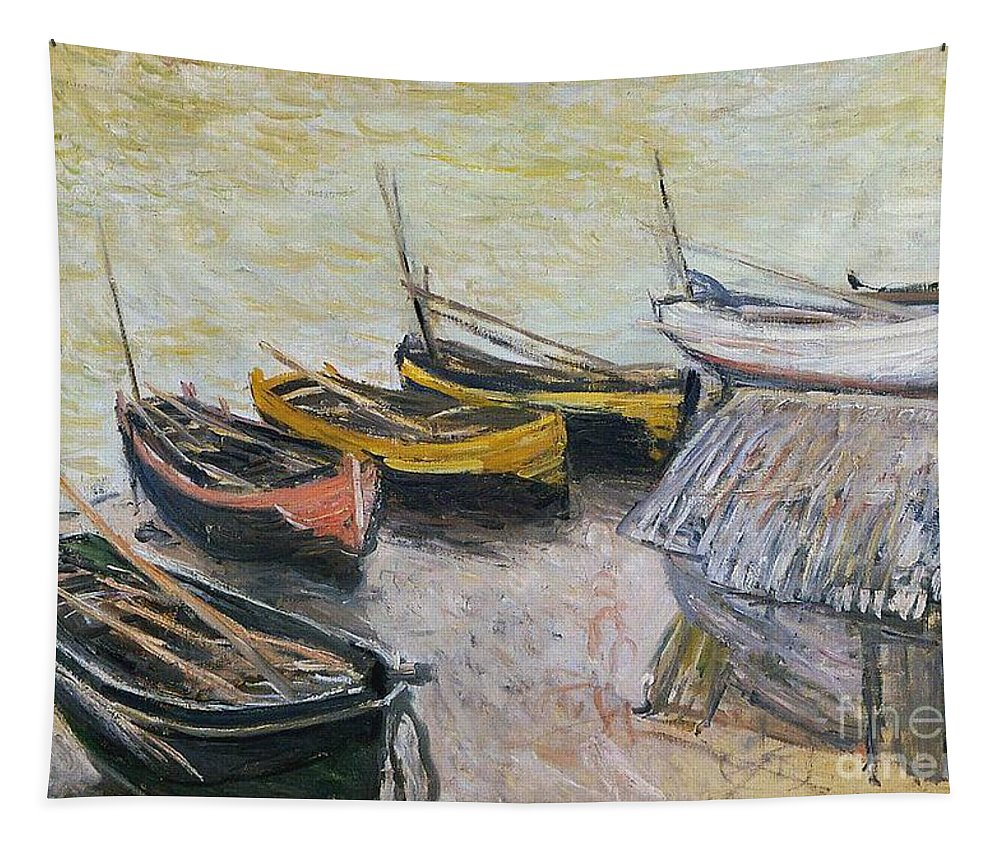 Boats On The Beach Tapestry featuring the painting Boats On The Beach by Claude Monet