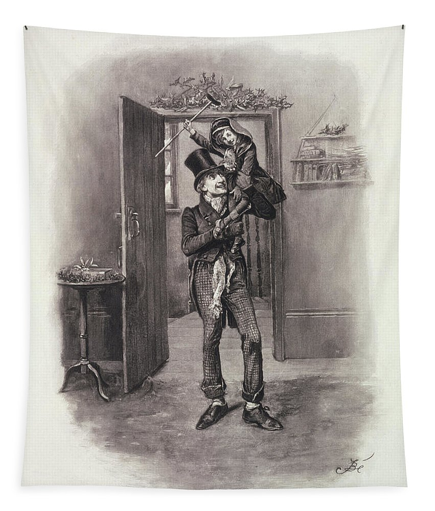 Dickens Tapestry featuring the drawing Bob Cratchit And Tiny Tim by Frederick Barnard