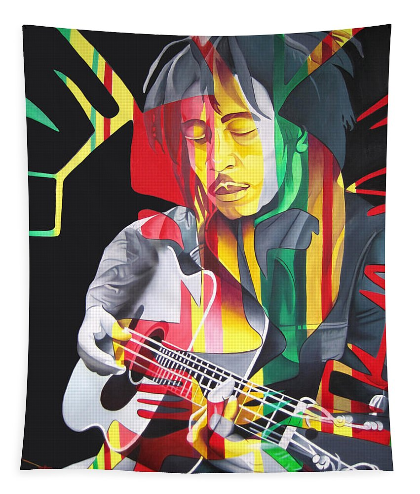 Bob Marley Tapestry featuring the painting Bob Marley And Rasta Lion by Joshua Morton
