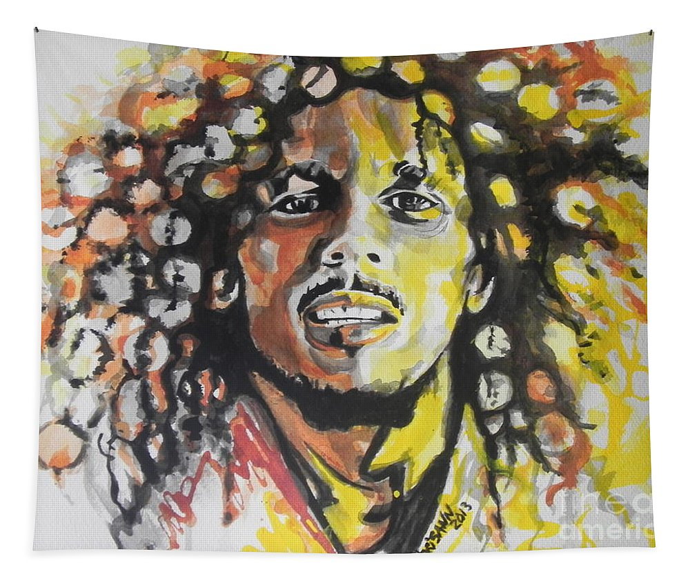 Watercolor Tapestry featuring the painting Bob Marley 02 by Chrisann Ellis