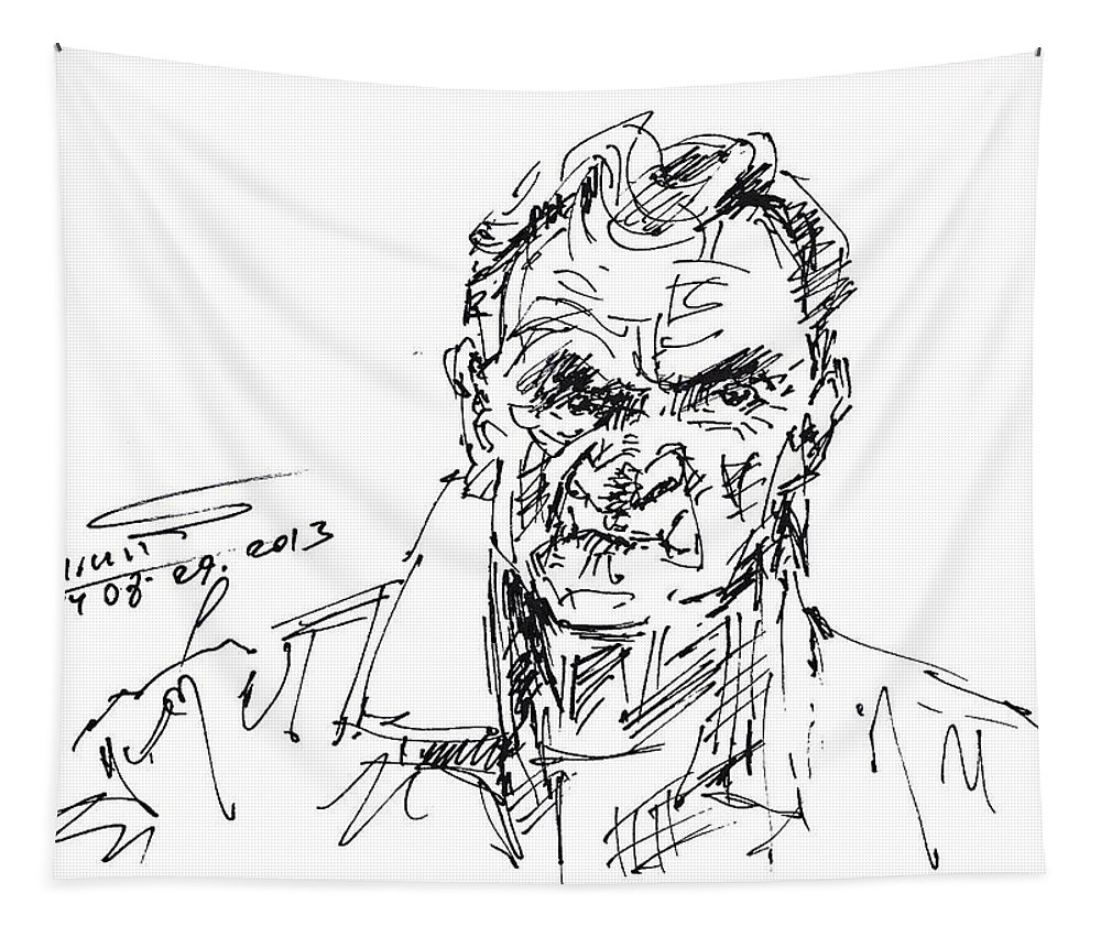 Portrait Tapestry featuring the drawing bob by Ylli Haruni