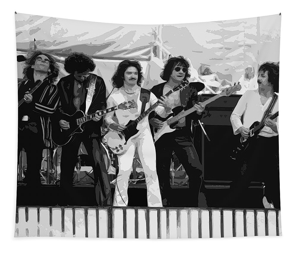 Blue Oyster Cult Tapestry featuring the photograph Boc #3 Enhanced Bw by Ben Upham
