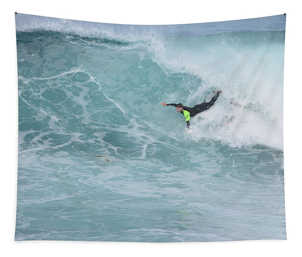 Body Surfer Tapestry featuring the photograph Body Surfer by Eric Johansen