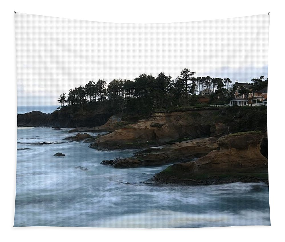Long Exposures Tapestry featuring the photograph Boiler Bay by Jeff Swan