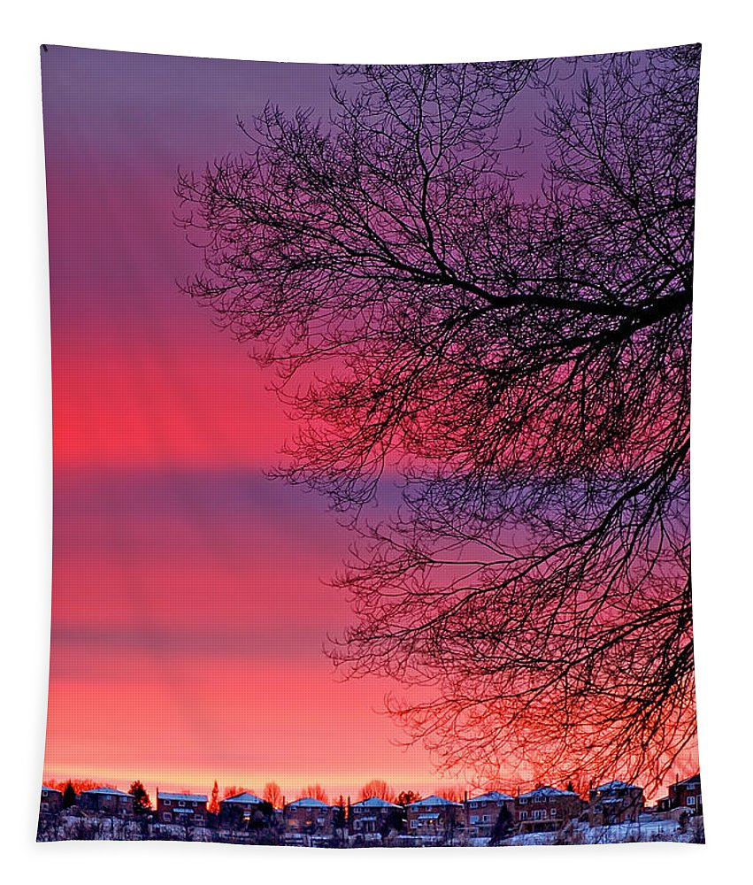 Ontario Tapestry featuring the photograph Bolton Sunset by Steve Harrington