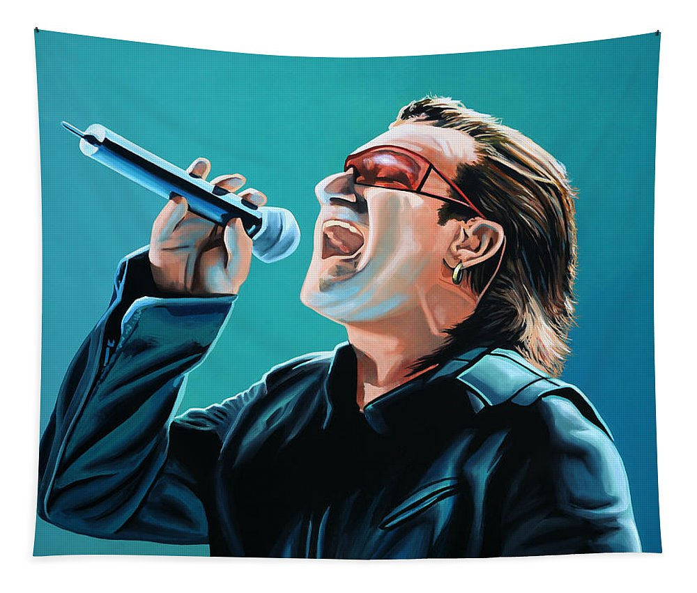 U2 Tapestry featuring the painting Bono Of U2 Painting by Paul Meijering