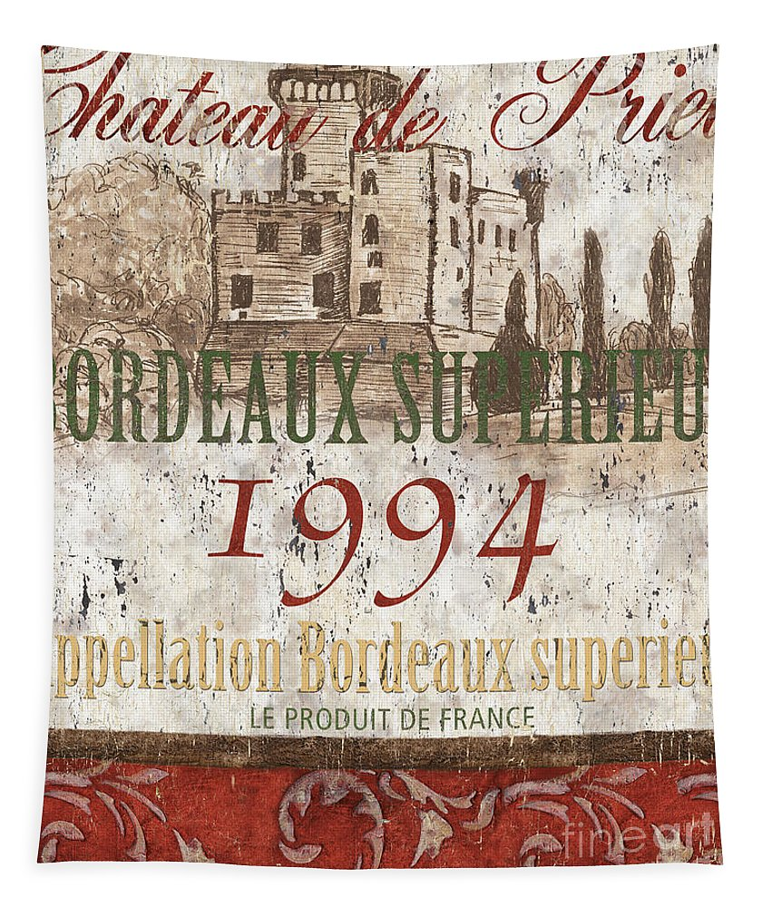 Wine Tapestry featuring the painting Bordeaux Blanc Label 2 by Debbie DeWitt
