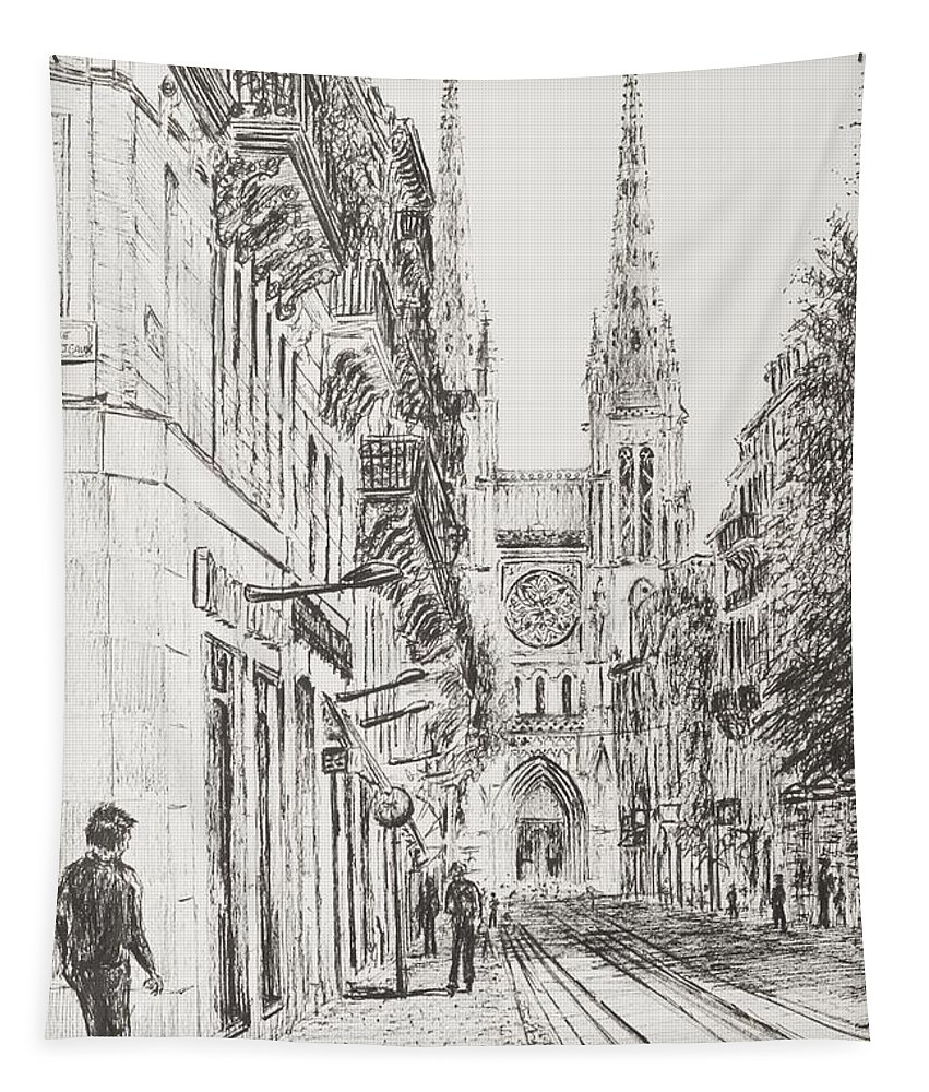 Bordeaux Tapestry featuring the drawing Bordeaux by Vincent Alexander Booth