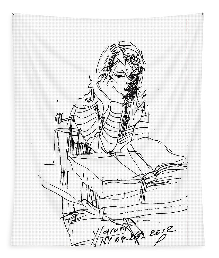 Girl Studying Tapestry featuring the drawing Bored by Ylli Haruni