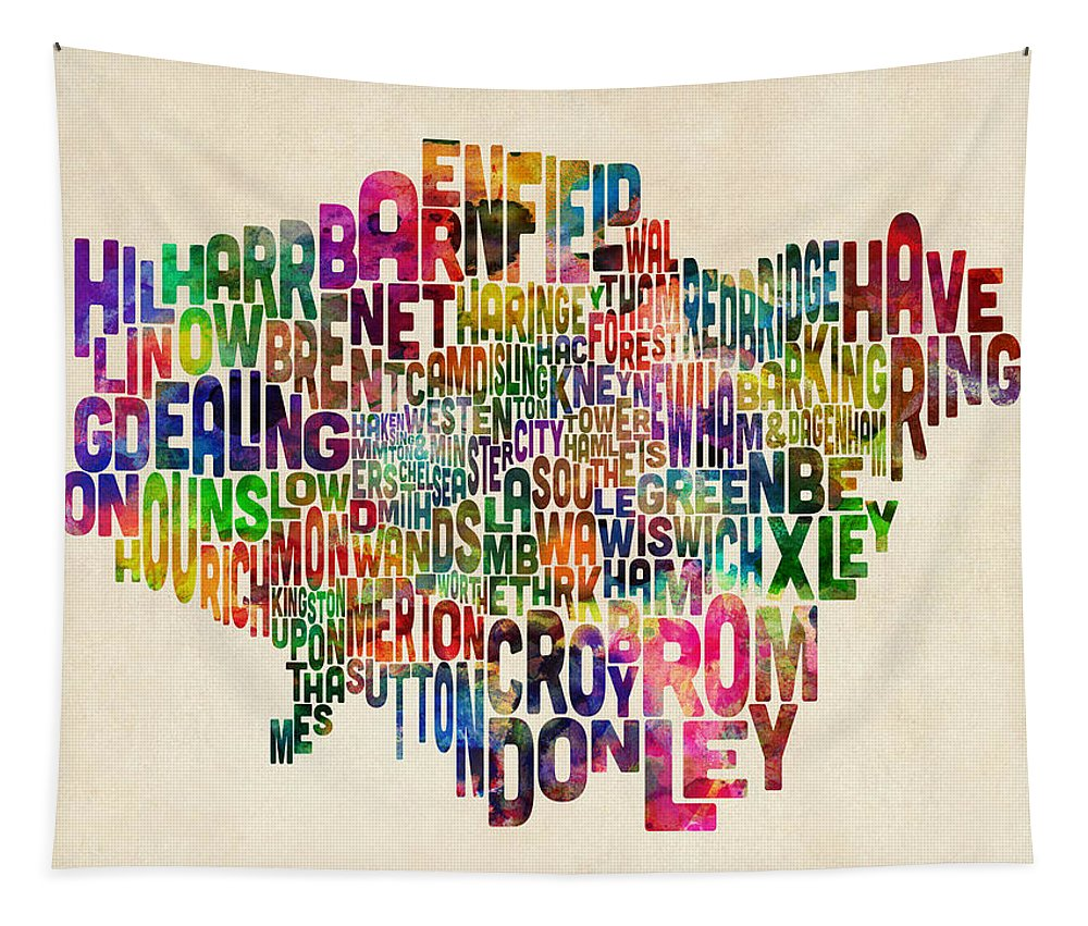 London Tapestry featuring the digital art Boroughs Of London Typography Text Map by Michael Tompsett
