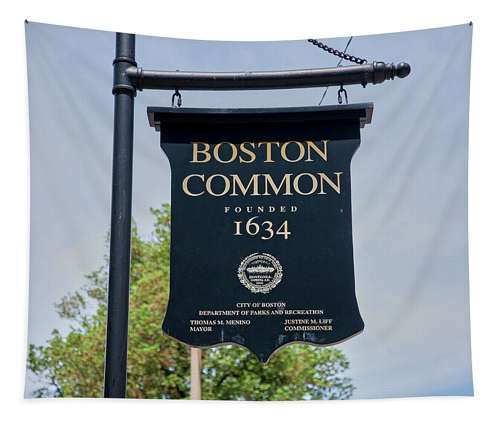 Photography Tapestry featuring the photograph Boston Common Park Sign, Boston, Ma by Panoramic Images