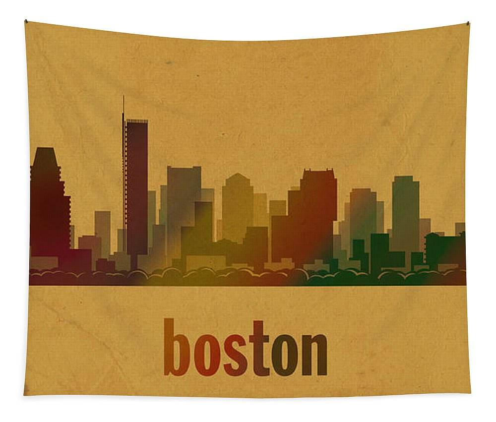 Boston Tapestry featuring the mixed media Boston Skyline Watercolor On Parchment by Design Turnpike