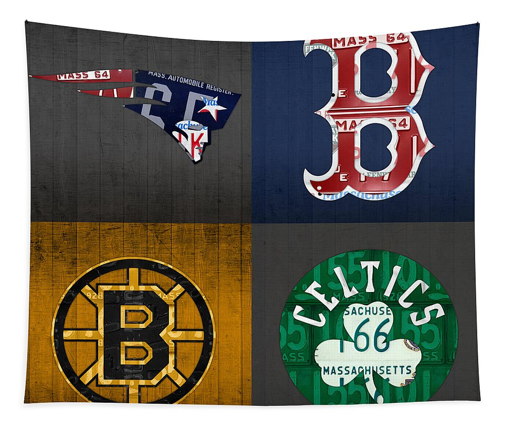 Boston Tapestry featuring the mixed media Boston Sports Fan Recycled Vintage Massachusetts License Plate Art Patriots Red Sox Bruins Celtics by Design Turnpike