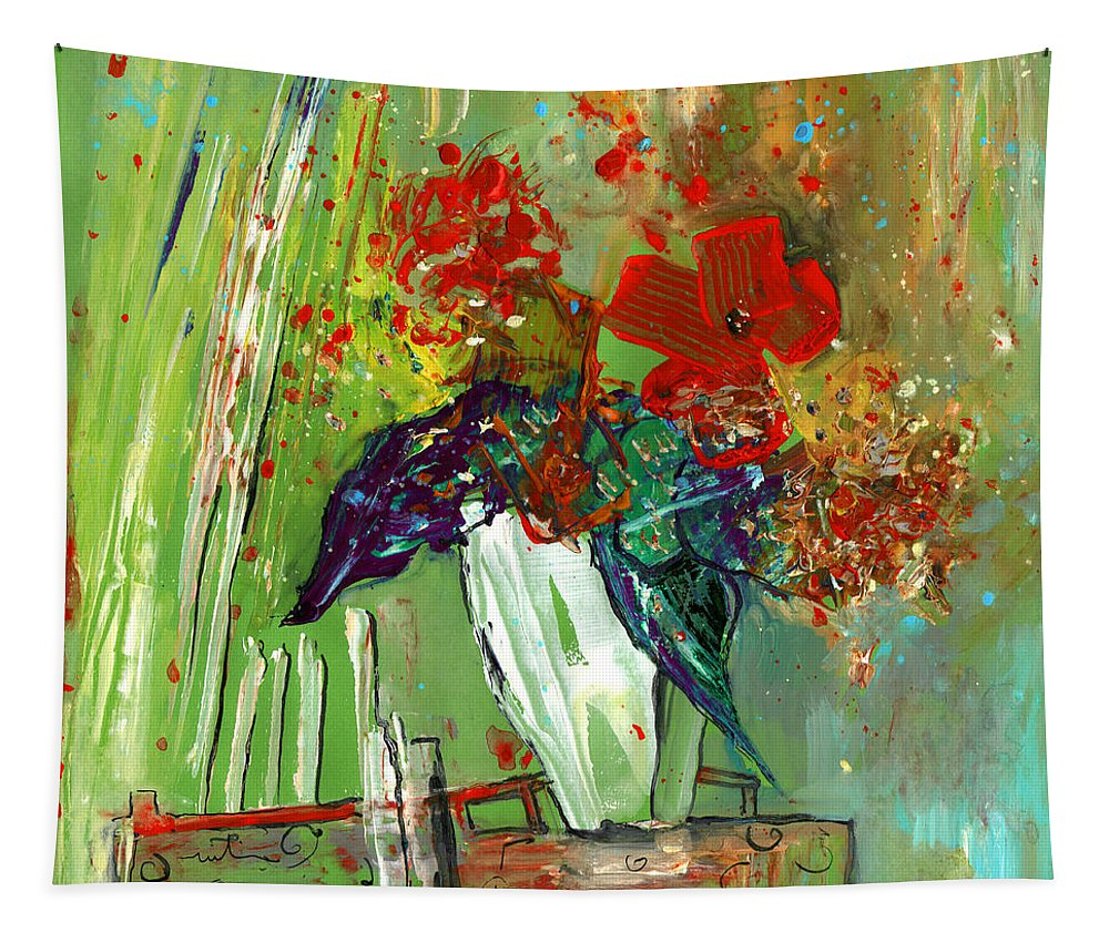 Floral Tapestry featuring the painting Bouquet In A White Vase by Miki De Goodaboom