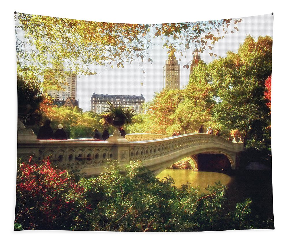 Bow Bridge Tapestry featuring the photograph Bow Bridge - Autumn - Central Park by Vivienne Gucwa
